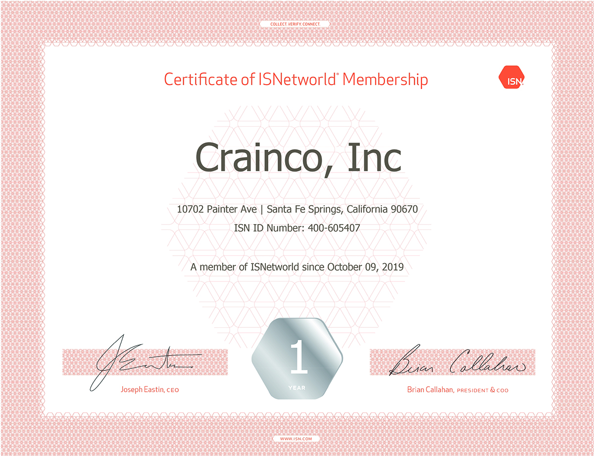 Crainco's ISNetworld Membership Reinforces Commitment to Safety & Compliance